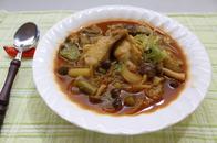 春野菜と鶏肉のカレー風スープ