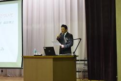 協同組合活動発表をする福田部長
