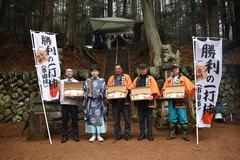 「勝利の一打柿いっぱつ合格セット」販売開始 菅原神社で合格祈願の祈祷