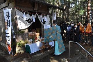 菅原神社での合格祈願の祈祷の様子