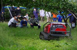 圃場での草刈り機の実演